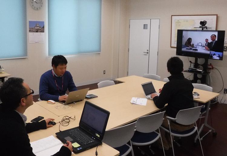 画像:門永水産様 テレビ会議の様子
